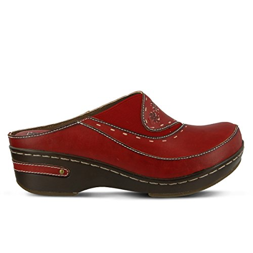 Painted Women's Red Clog L'ARTISTE Hand Chino Leather fAxIw1q4