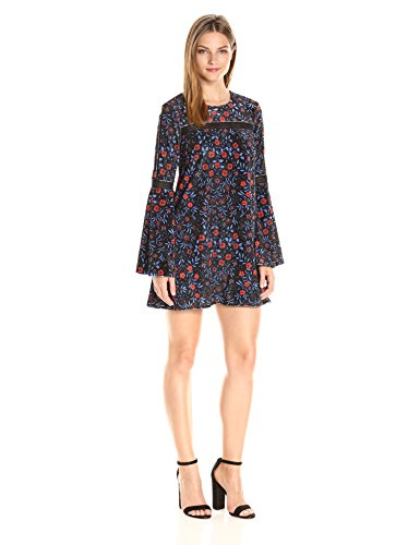 Cynthia Rowley Women's Folky Floral Printed Velvet Boho Trapeze Dress with Trim Detail, Black, 6 from Cynthia Rowley