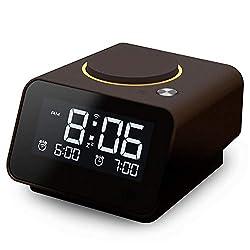 Homtime iC1mini Wi-Fi Alarm Clock for Kids and Seniors, Alexa-Enabled Alarm Clocks with Customized Brightness, Smart App Control, Dual USB Charging, Multi-Alarms, Chocolate
