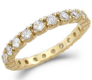 Amazon 14k Yellow Gold Eternity Channel CZ Wedding Band Ring