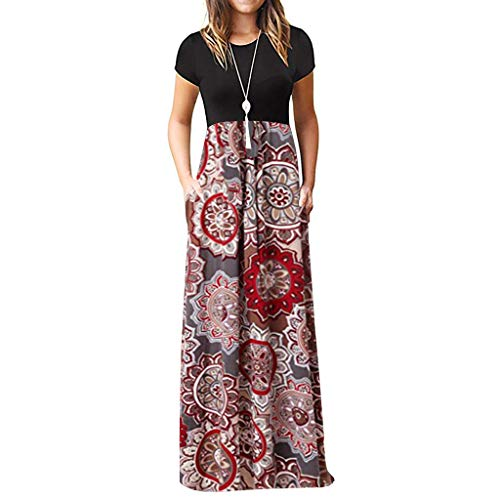 Women's Short Sleeve Loose Casual Bohemian O-Neck Print Long and Ground Dress ()