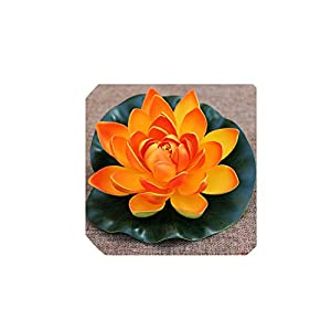 1PCS 10CM/ 18CM/28CM Artificial Fake Lotus Flower Lotus Flowers Water Lily Floating Pool Plants Wedding Garden Decoration,Orange Lotus,10CM 88