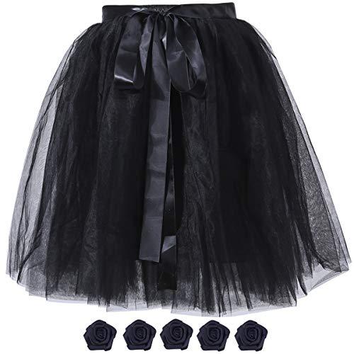 Women's Solid A Line High Waist Princess Tulle Skirt Grils's Tutu Skirt Dance Tutu Flowers for DIY Black -