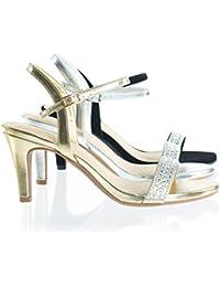 35e21ec60dc8bd Rhinestone Crystal High Heel Dress Sandal w Comfortable Foam Padding