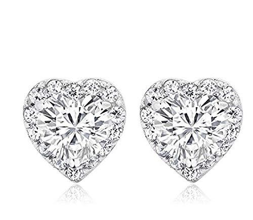 925 Sterling Silver Heart Shape Women's Halo Cubic Zirconia Earring Rhinestone Stud Earrings for Girls (Silver)
