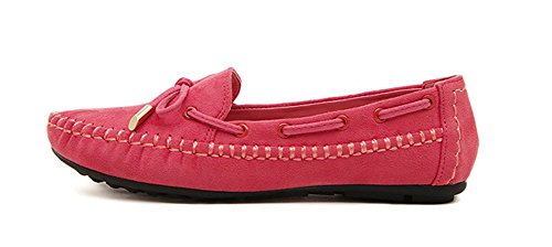 Aisun Womens Casual Sweet Bowknot Slip On Mocassini Rossi