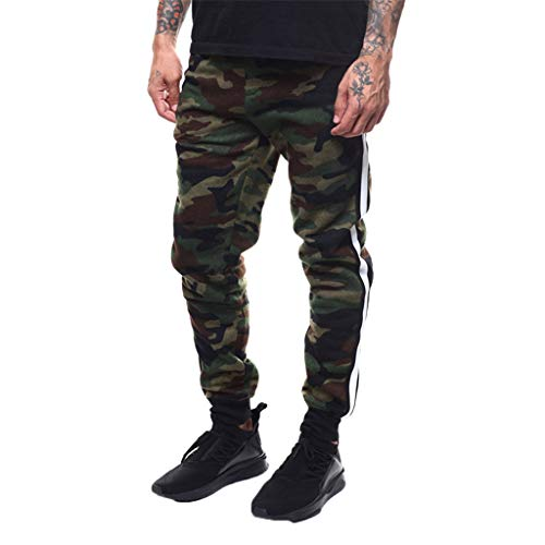 ANJUNIE Men's Splicing Printed Overalls Sport Work Casual Trouser Pants with Pocket (Camouflage,XL)