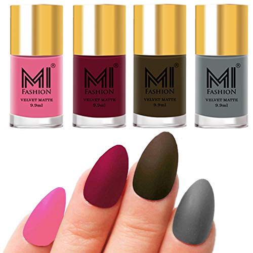 MI Fashion Nail Paints Combo Baby Pink, Mauve, Olive Brown, Grey Unique Matte Nail Polish Set of 4 Pcs 9.9ml each