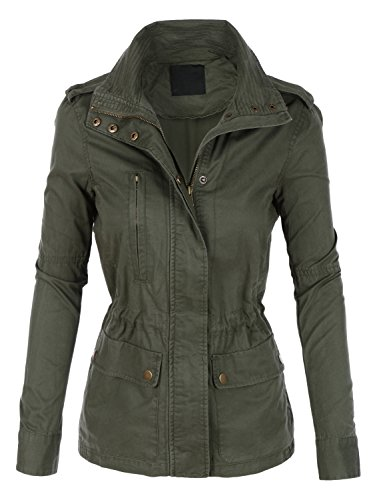 - LE3NO Womens Stand Collar Safari Anorak Jacket With Pockets