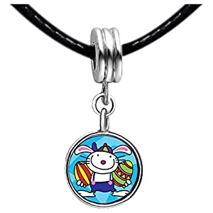 Chicforest Silver Plated Easter Day rabbit two carrots cartoon Photo Light Rose Crystal October Birthstone Flower dangle Charm Beads Fits Pandora Charm