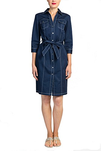 Badgley Mischka V Neck Button Front Shirt Dress with Belt and Chest Pockets, ¾ Sleeve, Navy with White Piping, Size 12