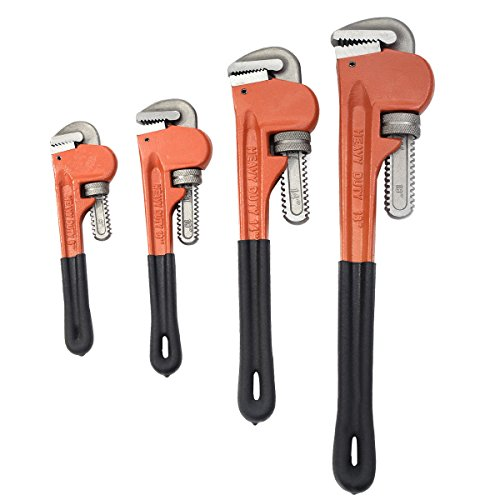 "Adjustable Pipe Wrench Set Monkey Wrench Heat Treated Set 4pcs 8"" 10"" 14"" 18"" Heavy Duty Jaw Grip"