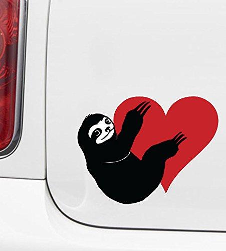 Yadda-Yadda Design Co. Sloth Hugging Heart - Vinyl Car Decal Copyright (Md 5&Quot; W X 3.75&Quot; H) (Color Choices) (Multicolor) (Pink) -