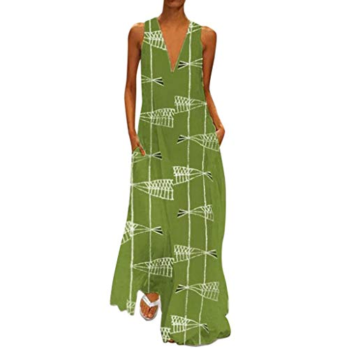 OOEOO Women's Retro Fashion V-Neck Long Dress Daily Leisure Sleeveless Printed Summer Dresses(Green,XXXL)