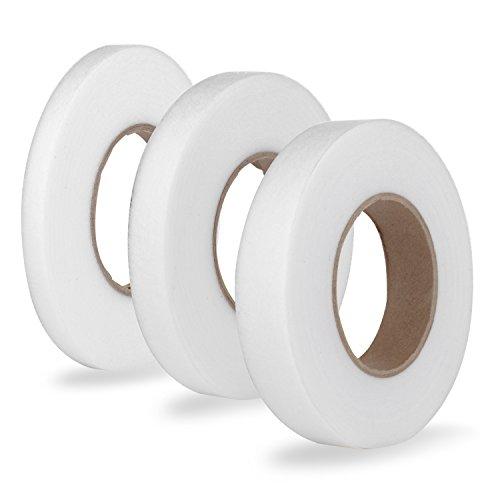 Silk Bias Tape (Tubala 3 Rolls No Sew Hem Tape Fabric Fusing Tape Adhesive Iron-on Hemming Tape, Each 70 Yards, Assorted Size)