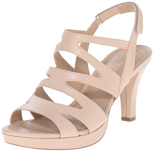 7 Inch High Heel Sandals (Naturalizer Women's Pressley Platform Dress Sandal, Taupe, 9 W)