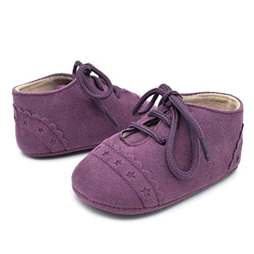 BOBORA Chicas Chicos Primer Caminar Zapatos De Bebe Talle PU Zapatos Con Cordones De Los Zapatos purpura
