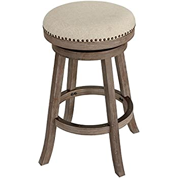 cortesi home sadie backless swivel counter stool in solid wood beige fabric home. Black Bedroom Furniture Sets. Home Design Ideas