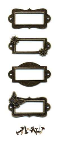 Momenta Metal Bookplates Butterfly/Flwr Icon- Copper