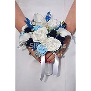 Scottish Bridesmaid Bouquet w/ Navy Sea Holly Thistle, Ivory Roses and Navy Allium 34