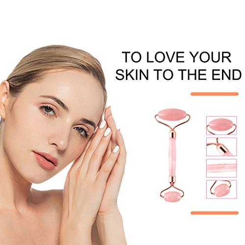 Jade Roller for Face,Natural Rose Quartz Facial Massage Roller,Great Skincare Tool for Facial Massage,Relaxation, Massage Your Face & Enhance Your Skin Care Routine, Gift Box