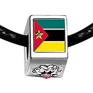 Chicforest Silver Plated Mozambique flag Photo Light Rose Crystal October Birthstone Flower Charm Beads Fits Pandora Charm Bracelet