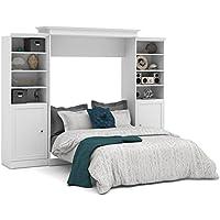 Bestar Versatile 115 Queen Wall Bed with 2 Piece 2 Door Storage Unit in White