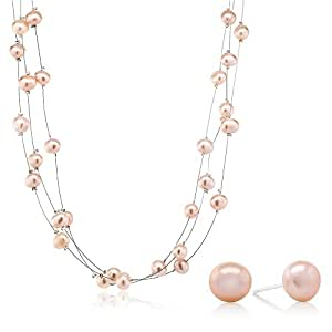 """3-Row 7-8mm Pink Cultured Freshwater Pearl Necklace Earrings Set 18"""""""