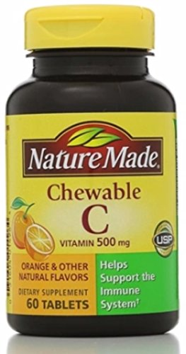 Nature Made Vitamin C 500 mg Chewable Tablets, Orange 60 ea (Pack of 4)