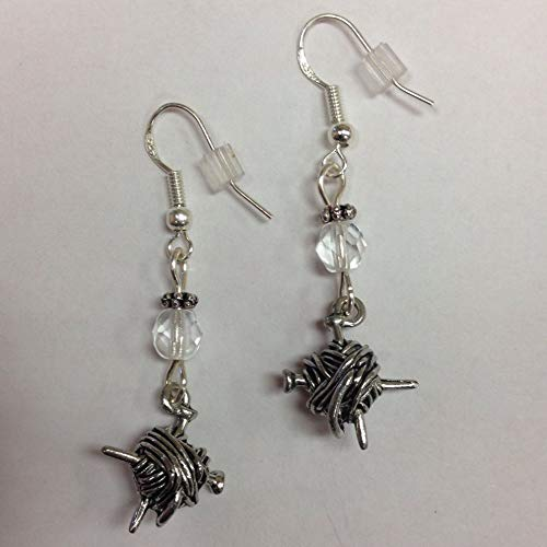 Knitting Needle, Knitters, Knitting or Yarn Earrings, with clear accent beads, on sterling silver earwires