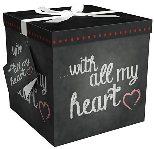 (Gift Box 12x12 Amrita Heart Pop up in Seconds Comes with Decorative Ribbon Mounted on The lid A Gift Tag and Tissue Paper - No Glue or Tape Required)