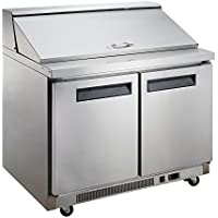 Dukers Appliance USA DUK600162377950 Dukers Commercial Sandwich Salad Prep Table Refrigerator, 2 Door, 57 Width x 31 Depth x 44 Height, Silver, Stainless steel