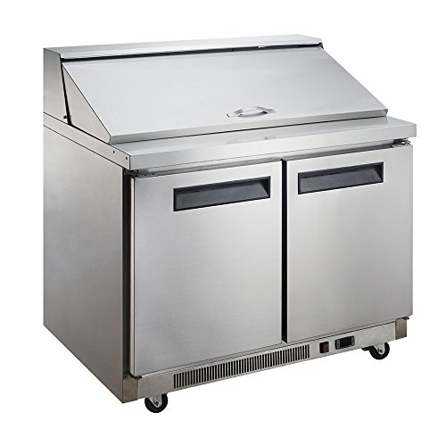 Locking Casters 4 Commercial (Dukers DSP48-18M-S2 11.4 cu. ft. 2-Door Commercial Food Prep Table Refrigerator with Mega Top)