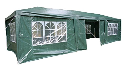 Airwave 3 x 9m Party Tent Gazebo Marquee with 3  x  Unique WindBars and Side Panels 120g Waterproof Canopy, Dark Green, 120g
