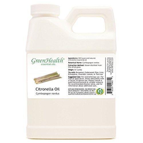 GreenHealth Citronella - 16 fl oz (473 ml) Plastic Jug w/Cap - 100% Pure Essential Oil