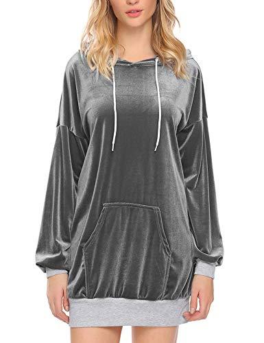 Zeagoo Women's Velvet Hoodie Sweatshirt Long Sleeve Loose Pullover Tunic Sliver XL