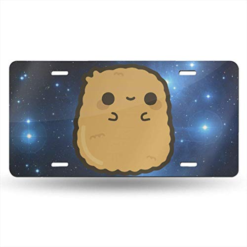 License Plate Covers Cute Chicken Nugget (1) Customized Aluminum Metal for US Cars, Auto Tag for Women/Men, 12 x 6 Inch