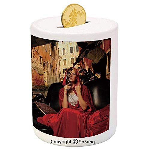 SoSung Venice Ceramic Piggy Bank,Young Woman with a Red Cloak and Carnival Mask Riding on Antique Gondola 3D Printed Ceramic Coin Bank Money Box for Kids & Adults,Red Black Light Brown