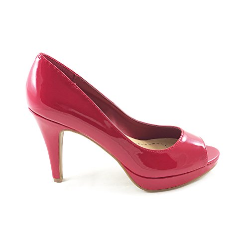 Women's Classified Toe Bree Jane Mary Comfort Peep City Pump Pat Red 7UPqaEx7w