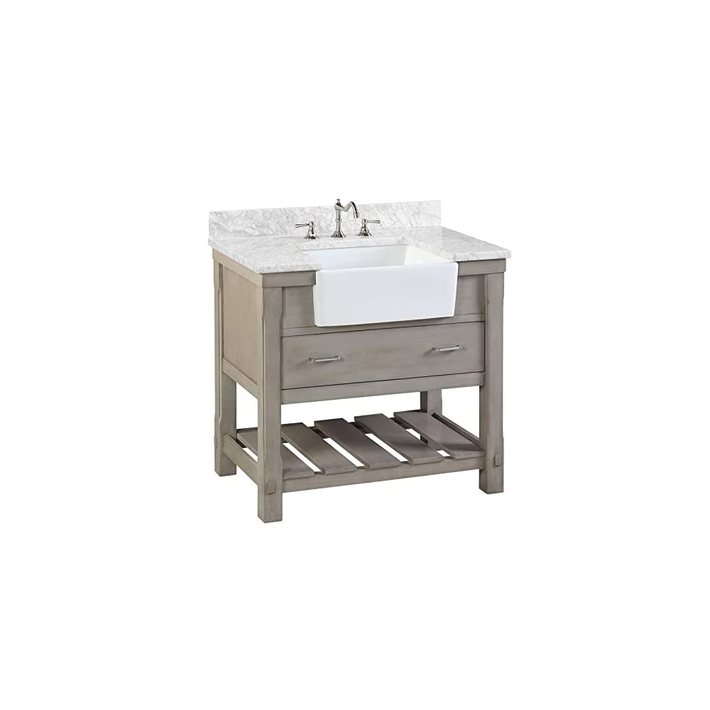 Charlotte 36-inch Bathroom Vanity (Carrara/Weathered Gray): Includes Weathered Gray Cabinet with Authentic Italian…