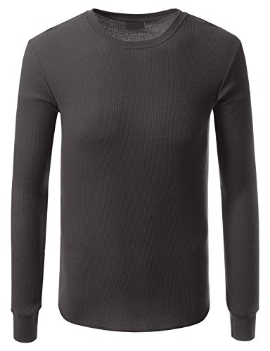 JD Apparel Mens Hipster Hip Hop Crewneck Thermal Long Sleeve T-shirt XL Charcoal by JD Apparel