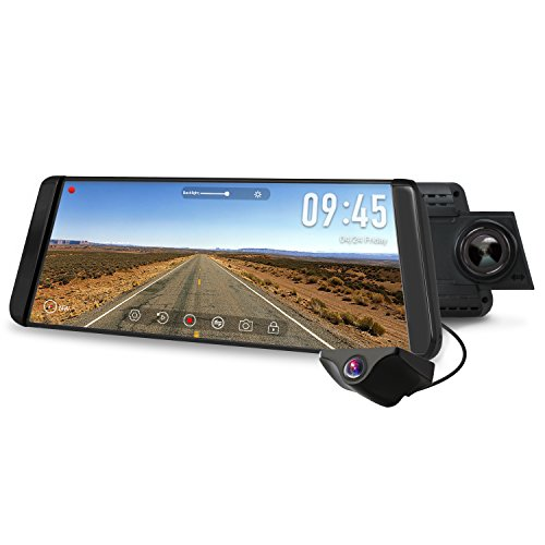 AUTO-VOX X2 Mirror Dash Cam with 9.88' Streaming Media 1296P FHD Touch Screen, 720P AHD Waterproof Backup Camera with Night Vision, G-Sensor, LDWS, WDR
