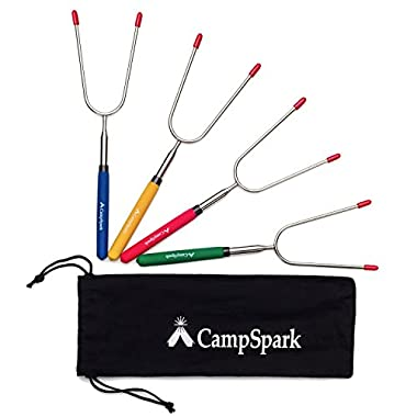CampSpark 34  Telescoping Marshmallow Roasting Sticks - Set of 4 - Smores & Hot Dog Campfire Fork Skewers - Bonus Bag & FREE Recipes E-book - Camping Cookware Campfire Cooking - Super Safe for Kids!