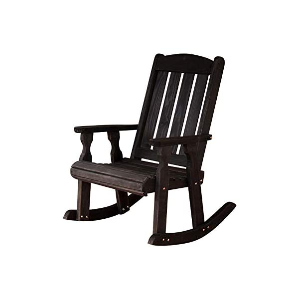 Amish Heavy Duty 600 Lb Mission Pressure Treated Rocking Chair (Semi-Solid Black Stain)