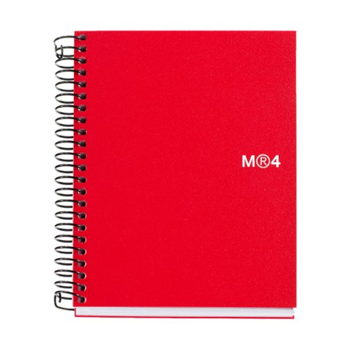 Miquelrius Small 4 Subject Spiral Notebook, Red, College Ruled (4.5