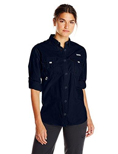 Columbia Women's PFG Bahama II Long Sleeve Shirt, Breathable, UV Protection, Collegiate Navy, Medium ()