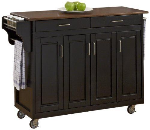 Home Styles 9200-1047G Create-a-Cart, Black Finish with Cherry Top
