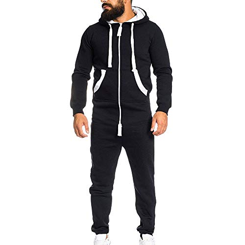 Men's Fashion Onesie Jumpsuit one Piece Non Footed Pajamas Unisex-Adult Hooded Overall Zip up Playsuit Christmas Romper (Black, L) ()