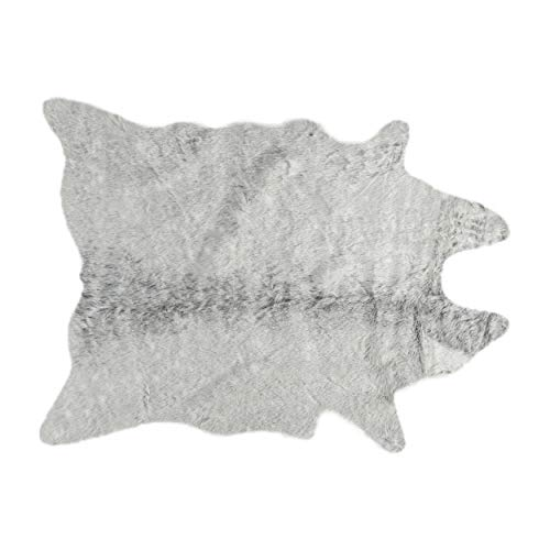 ( 5-1/4 ft x 7-1/2 ft ) Luxe Faux Fur Luxury Soft Premium Quality Fade Resistant Shed Free 100% Animal-Free Faux Cowhide Area Rug, Grey