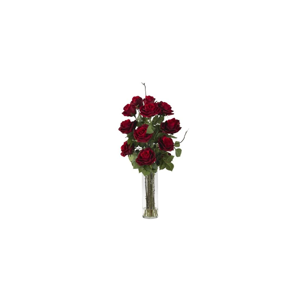 Nearly Natural 1206 Roses With Cylinder Vase Silk Flower Arrangement